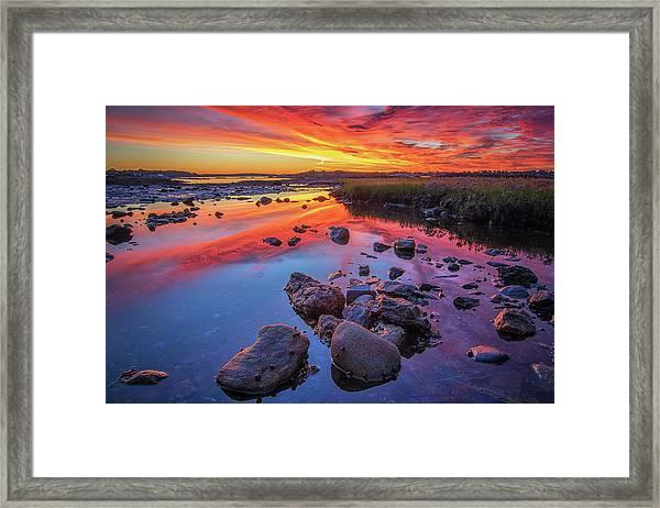 Sunrise Reflections In Harpswell Framed Print