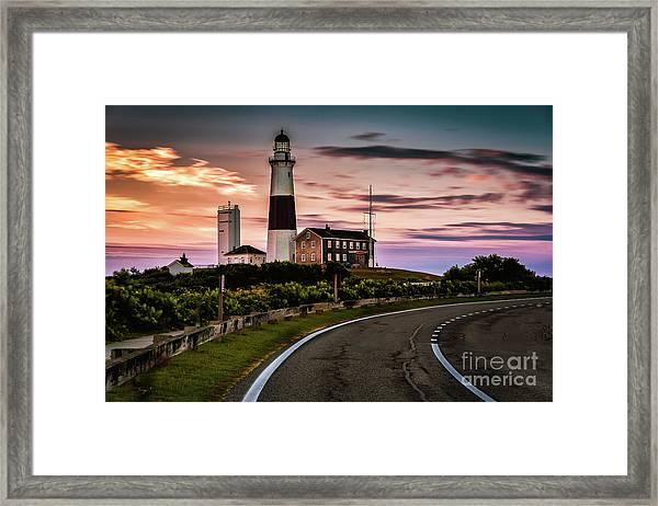 Sunrise Road To The Montauk Lighthous Framed Print