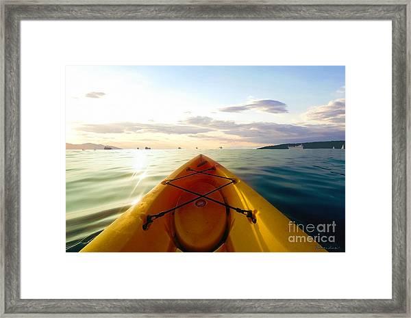 Sunrise Seascape Kayak Adventure Framed Print