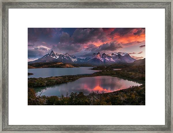 Sunrise Spectacular At Torres Del Paine. Framed Print