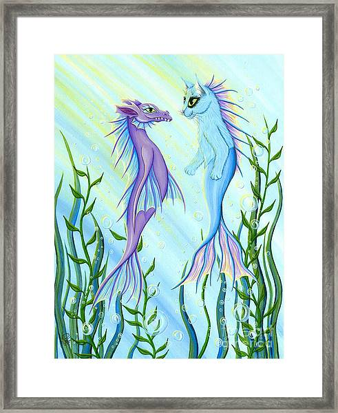 Sunrise Swim - Sea Dragon Mermaid Cat Framed Print