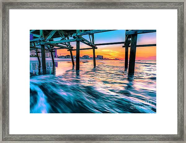 Sunrise Under Cherry Grove Pier Framed Print