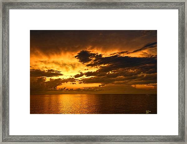 Sunrise With A Rain Shower Framed Print by Bill Perry