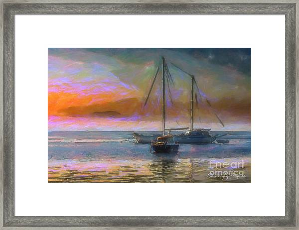 Sunrise With Boats Framed Print