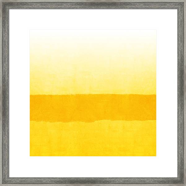 Sunrise- Yellow Abstract Art By Linda Woods Framed Print