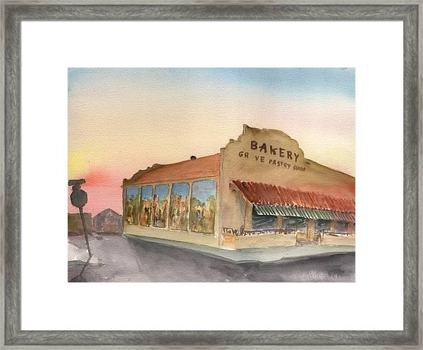 Sunset 38 Grove Pastry Shop Framed Print