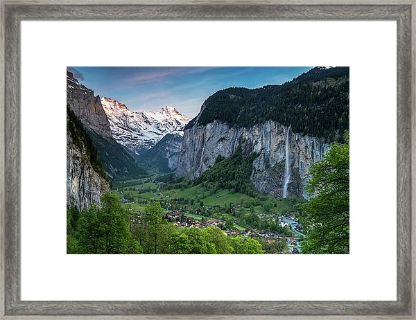 Sunset Above The Lauterbrunnen Valley Framed Print
