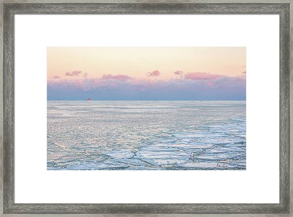 Sunset Across The Frozen Lake Framed Print