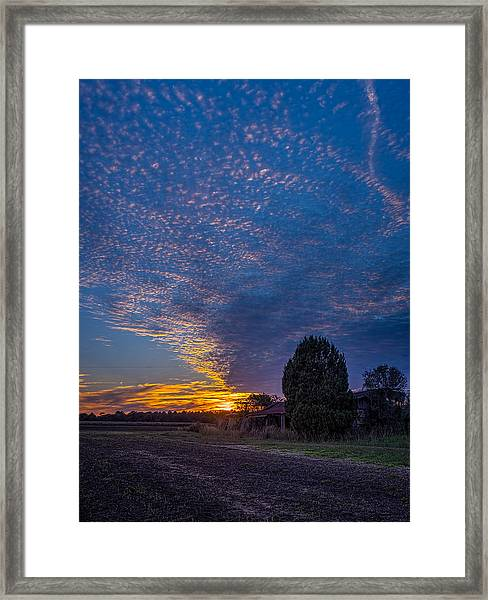 Sunset And Dilapidated Barn Framed Print
