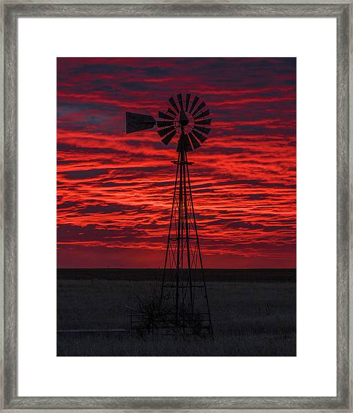 Framed Print featuring the photograph Sunset And Windmill 02 by Rob Graham