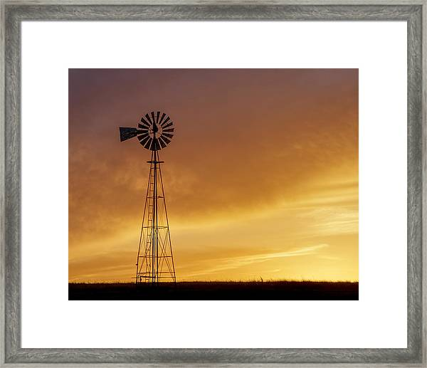 Framed Print featuring the photograph Sunset And Windmill 09 by Rob Graham