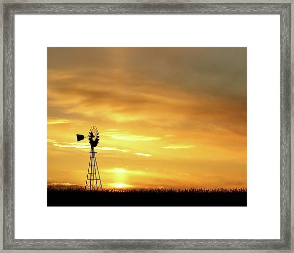 Framed Print featuring the photograph Sunset And Windmill 11 by Rob Graham