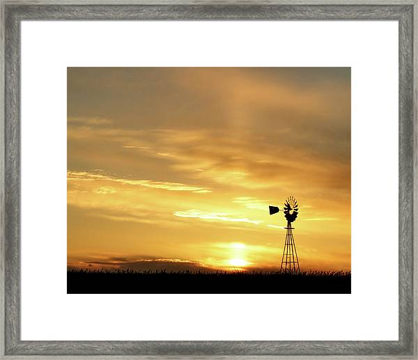 Framed Print featuring the photograph Sunset And Windmill 13 by Rob Graham