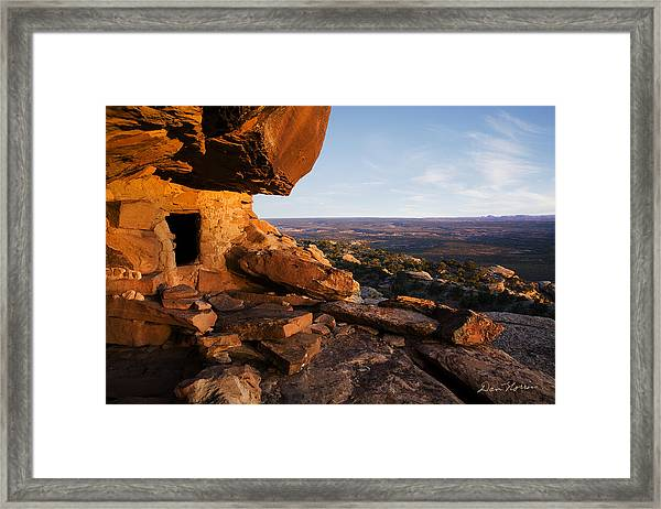 Sunset At Ancient Dwelling Framed Print