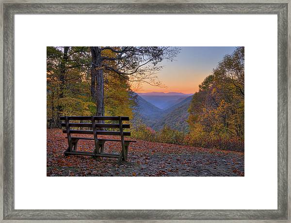 Framed Print featuring the photograph Sunset At Babcock by Williams-Cairns Photography LLC
