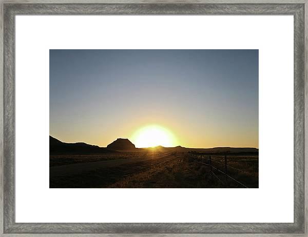 Sunset At Castle Butte Sk Framed Print
