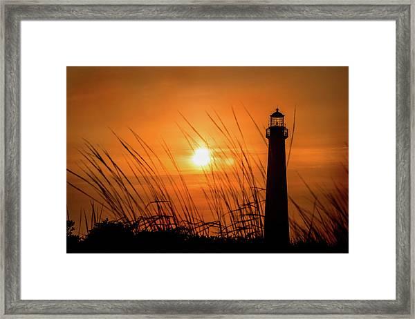 Sunset At Cm Lighthouse Framed Print
