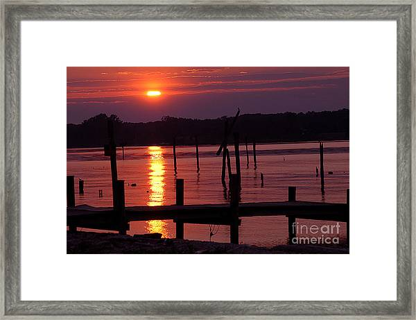 Sunset At Colonial Beach Framed Print