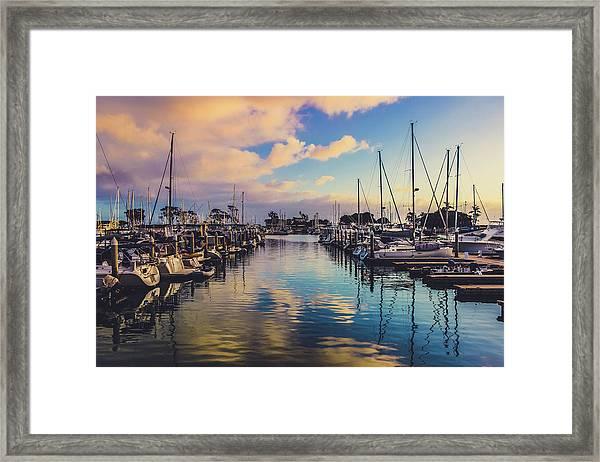 Sunset At Dana Point Harbor Framed Print