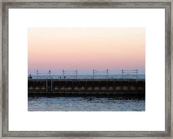 Sunset At Diversey Harbor Framed Print