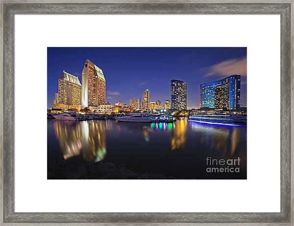 Sunset At Embarcadero Marina Park In San Diego Framed Print
