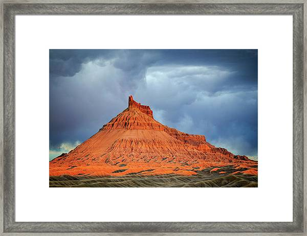 Sunset At Factory Butte. Framed Print