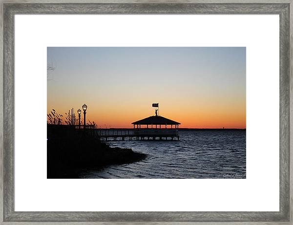 Sunset At Fagers Island Gazebo Framed Print