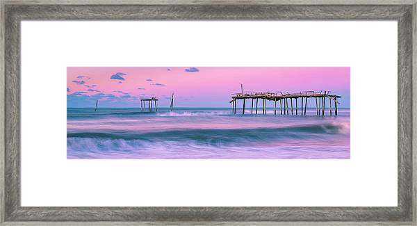 Framed Print featuring the photograph Sunset At Frisco Fishing Pier Panorama by Ranjay Mitra