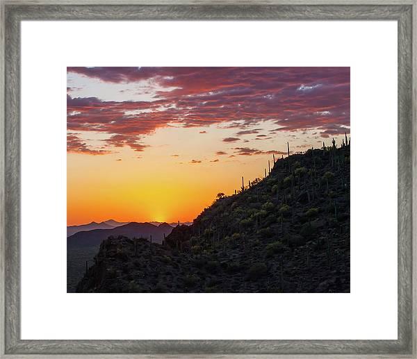 Sunset At Gate's Pass Framed Print