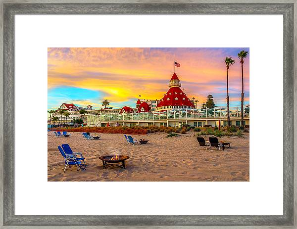 Sunset At Hotel Del Coronado Framed Print