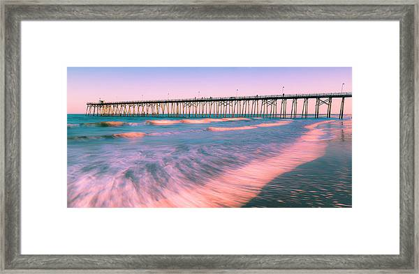 Framed Print featuring the photograph Sunset At Kure Beach Fishing Pier Panorama by Ranjay Mitra