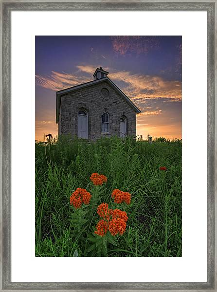Sunset At Lower Fox Creek Schoolhouse Framed Print