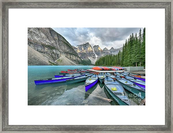 Sunset At Moraine Lake Framed Print