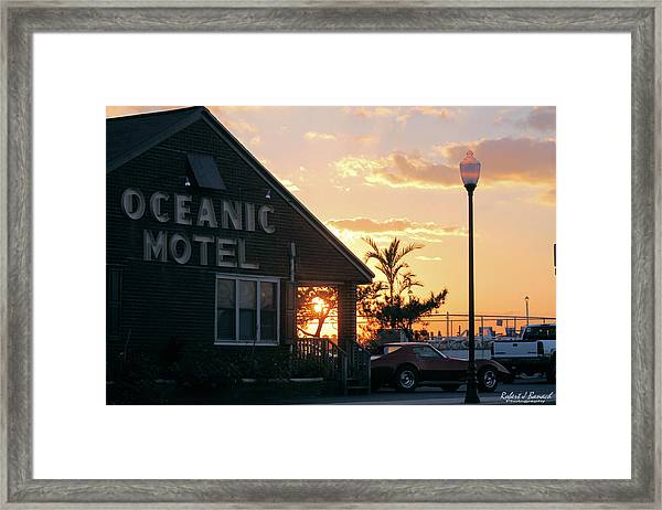 Sunset At Oceanic Motel Framed Print