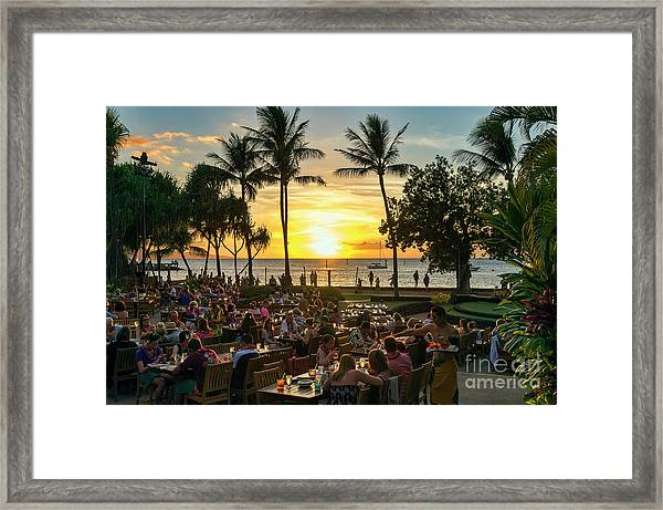 Sunset At Old Lahaina Luau #1 Framed Print
