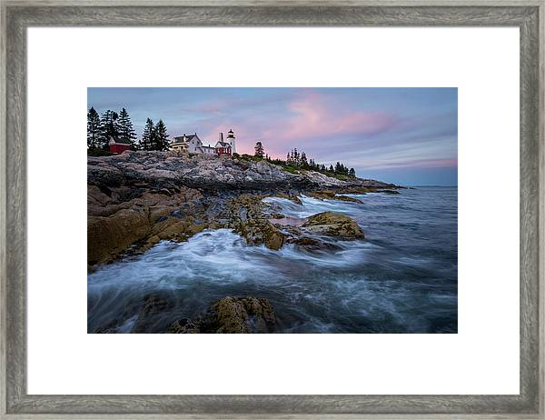 Sunset At Pemaquid Framed Print