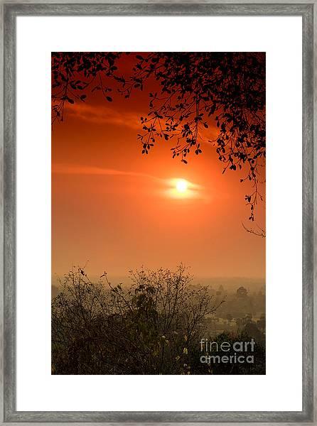 Sunset At Phnom Bakheng Of Angkor Wat Framed Print