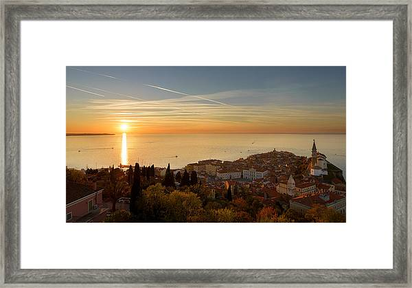 Sunset At Piran Framed Print
