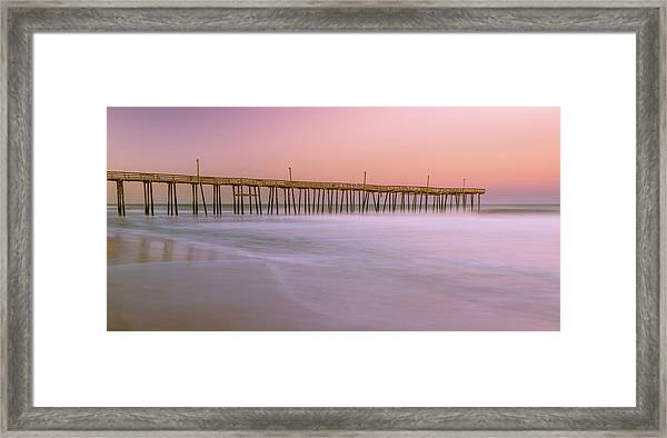 Framed Print featuring the photograph Sunset At Rodanthe Fishing Pier In Obx Panorama by Ranjay Mitra