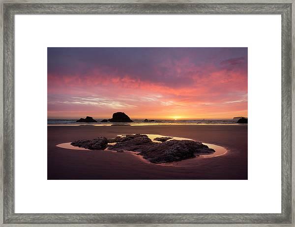 Sunset At Ruby Beach Framed Print