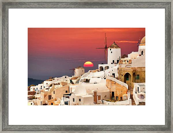 sunset at Santorini Framed Print