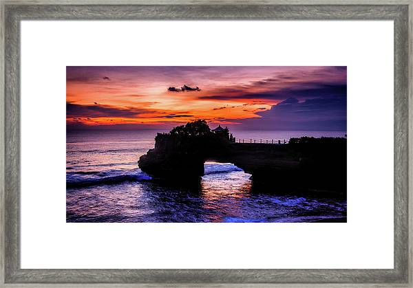 Framed Print featuring the digital art Sunset At Tanah Lot by Kevin McClish