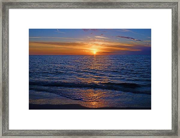 Sunset At The Beach In Naples, Fl Framed Print