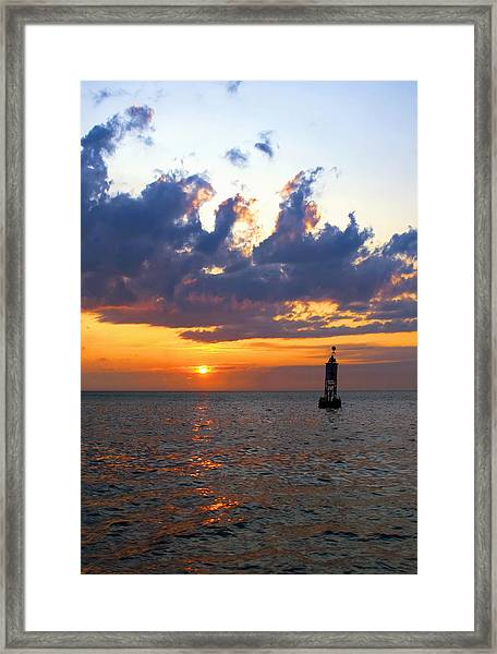 Sunset At The Bell Buoy Framed Print