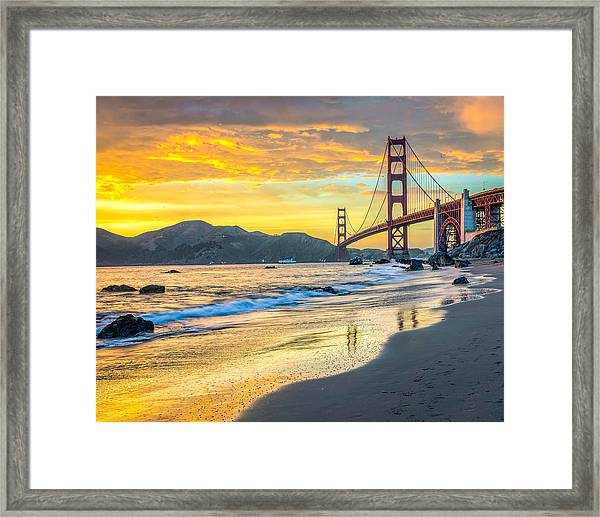 Sunset At The Golden Gate Bridge Framed Print