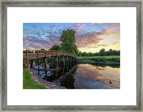 Sunset At The Old North Bridge Framed Print