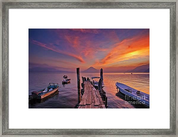 Sunset At The Panajachel Pier On Lake Atitlan, Guatemala Framed Print
