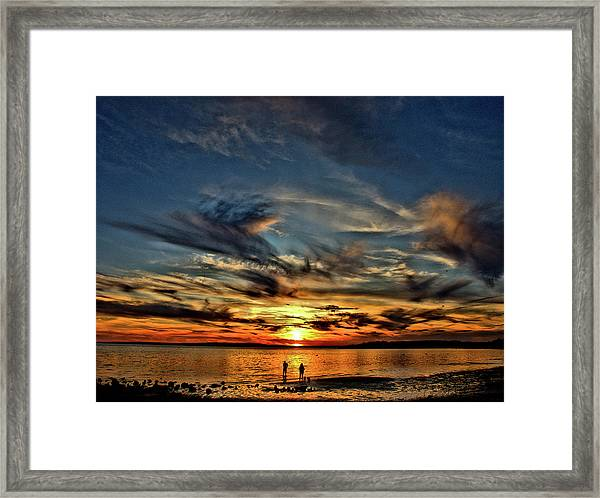 Sunset At The Waters Edge Framed Print