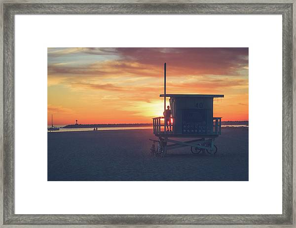 Sunset At Toes Beach Framed Print
