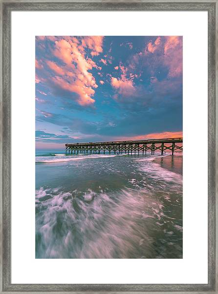 Sunset At Wilmington Crystal Pier In North Carolina Framed Print